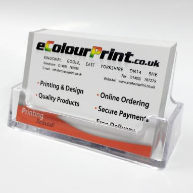 Clear plastic card holders ecolour print business card counter display colourmoves