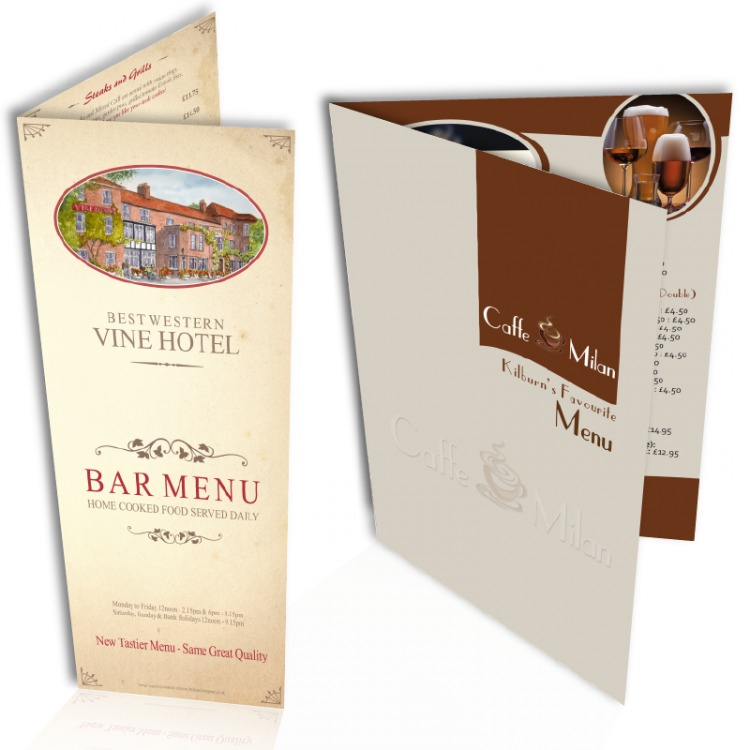Laminated table menus creased a3 a4 a5 or 3 x a5 for Table menu restaurant