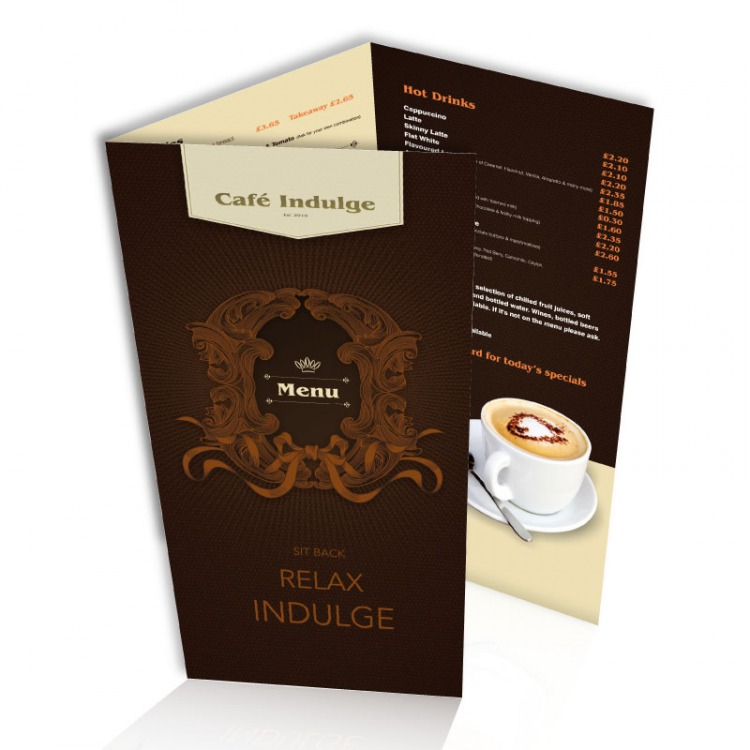 Laminated table menus creased a3 a4 a5 or 3 x a5 for Table cafe menu