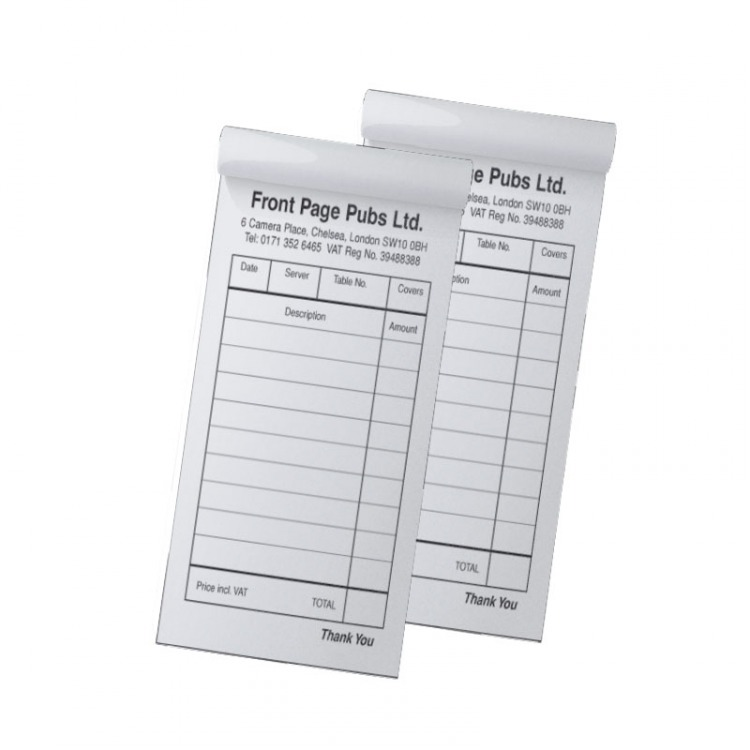 Restaurant order NCR Pads in DL 2 or 3 Part trade price pads ...
