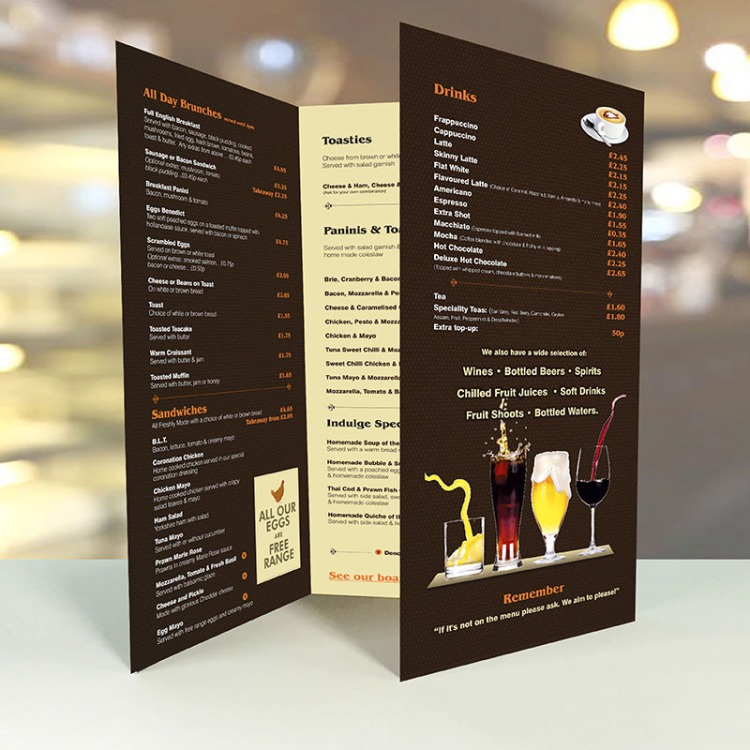 Large a2 table menus creased 3xa4 menus laminated for Table menu restaurant