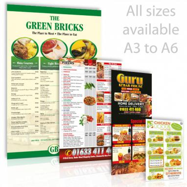 A4 Menu Leaflet Deals with 30 Free A3 Posters