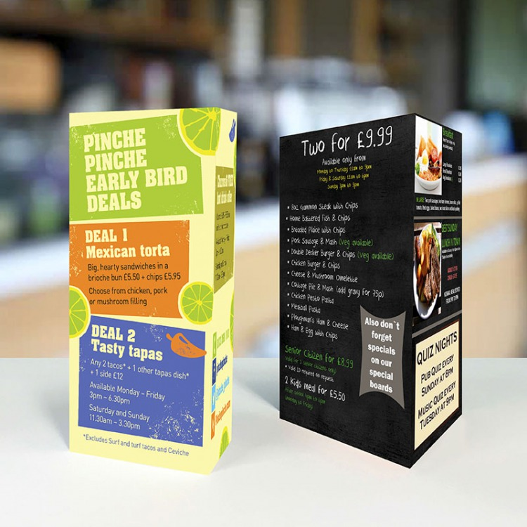 Laminated Table Talkers A3 A4 A5 Ecolour Print